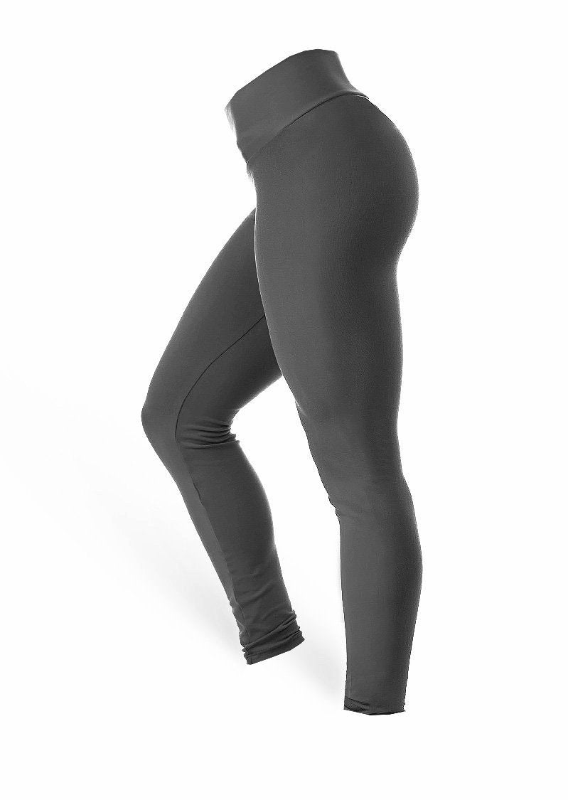 High Waist Leggings - Dark Grey - AcaiBerryFashion