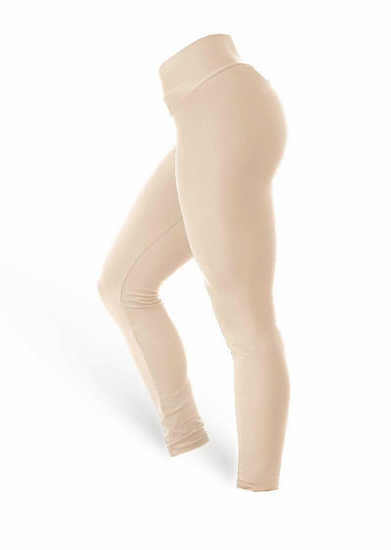 High Waist Leggings - Nude - AcaiBerryFashion