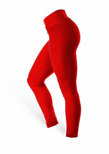 High Waist Leggings - Red - AcaiBerryFashion