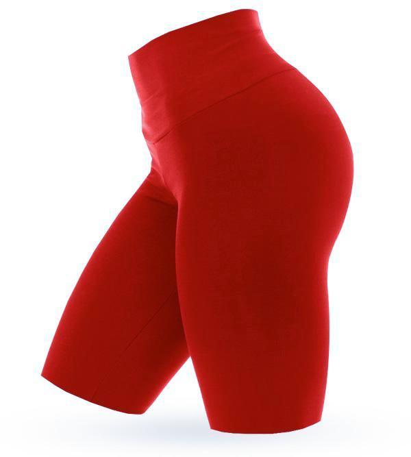 High Waist Shorts - Red - AcaiBerryFashion