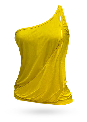 One shoulder shirt - yellow