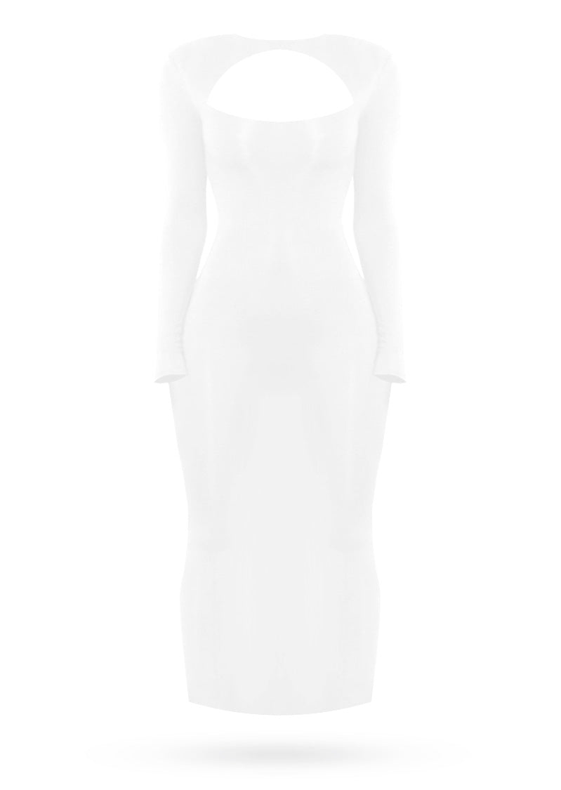 All About Midi Dress - White - AcaiBerryFashion