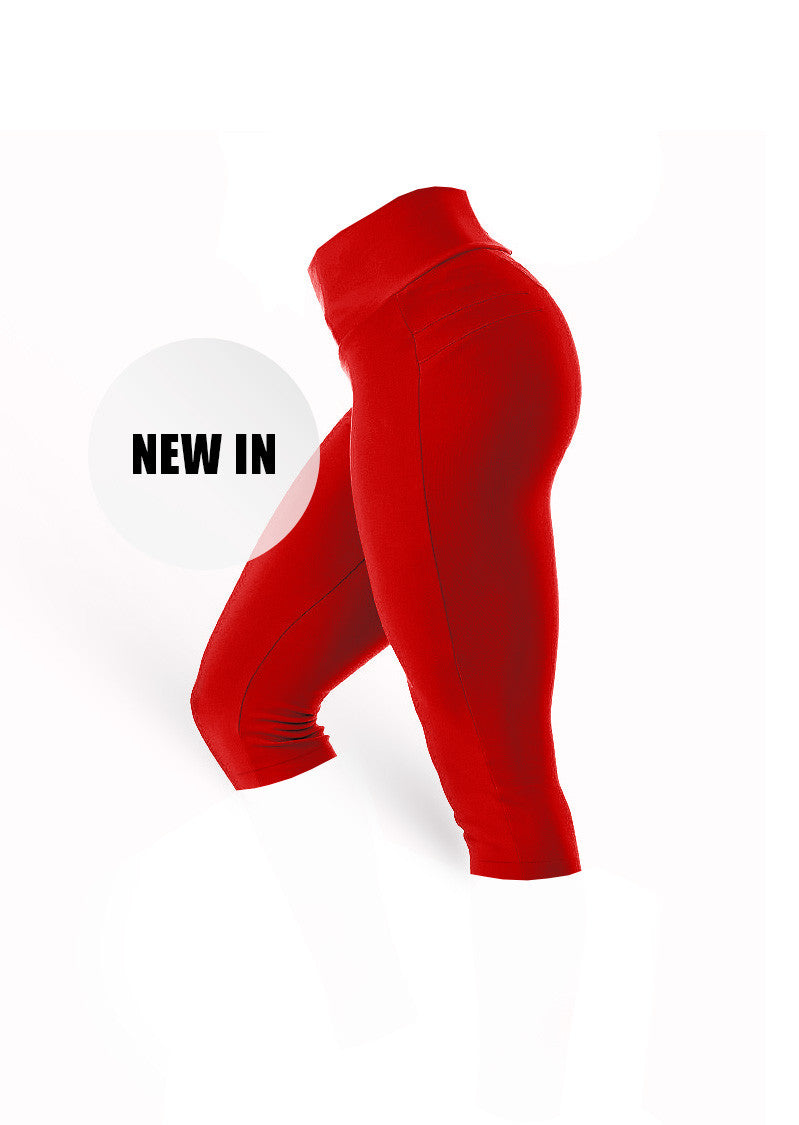 BrazilianButt Push Up Capris Pants - Passion Red - AcaiBerryFashion