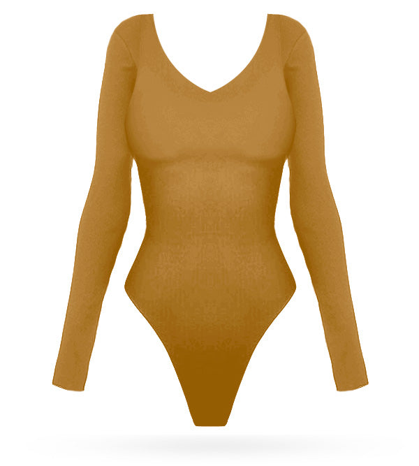 Basic Bodysuit - Gold - AcaiBerryFashion