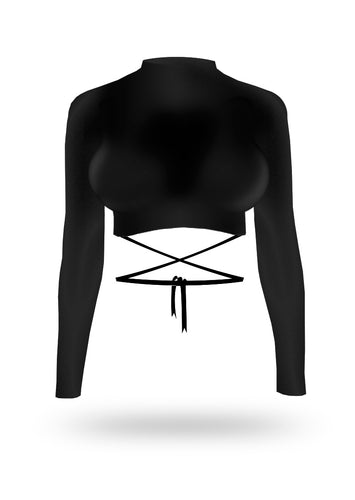 Long Sleeve Ribbon Crop Top - Black - AcaiBerryFashion
