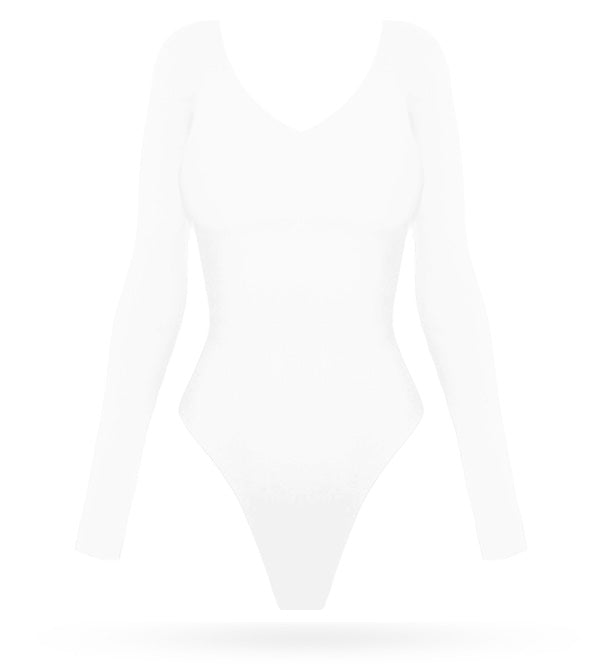 Basic Bodysuit - White - AcaiBerryFashion