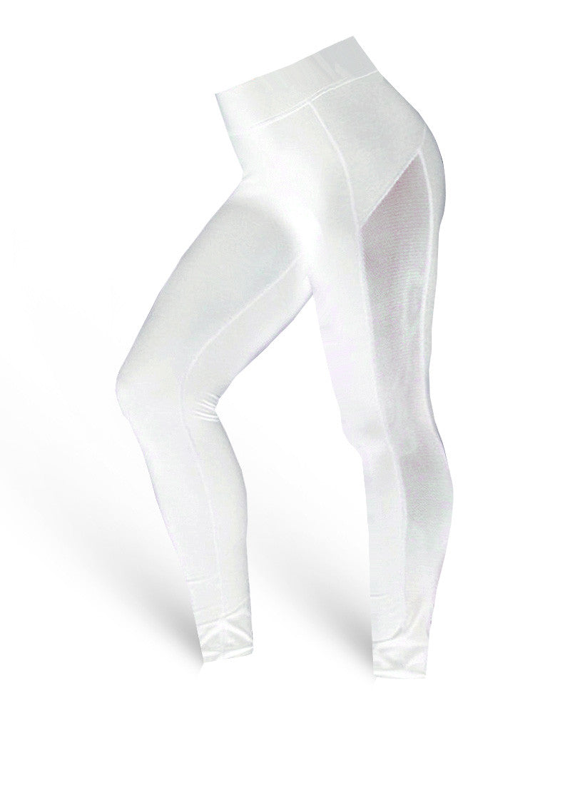 The Brazilian Butt Push Up Side Mesh Pants - white - AcaiBerryFashion