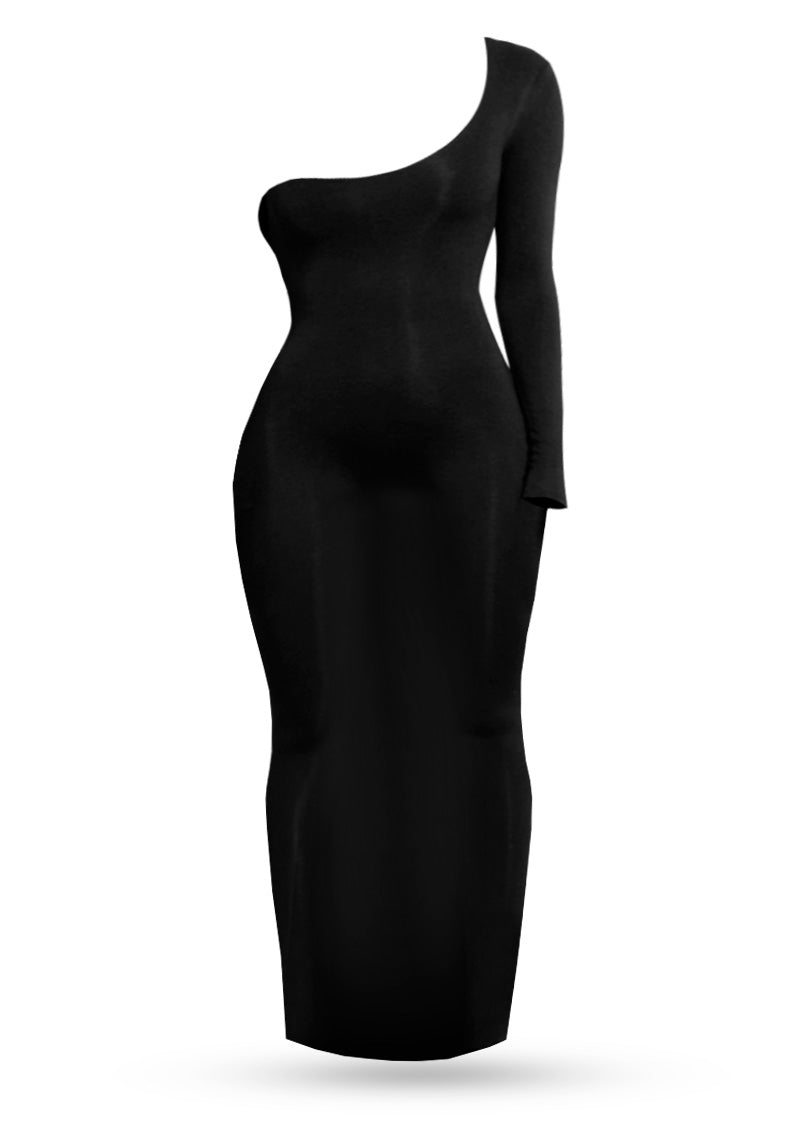 One Shoulder dress - Black - AcaiBerryFashion