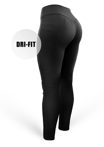 Brazilian Butt Push Up Pants - Mix Dri-Fit - Black - AcaiBerryFashion