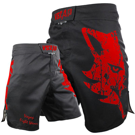 MMA/GRAPPLING FIGHT SHORTS - BLACK WOLF - VSZAP