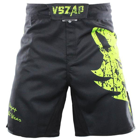 MMA/GRAPPLING FIGHT SHORTS - BLACK GREEN WOLF - VSZAP