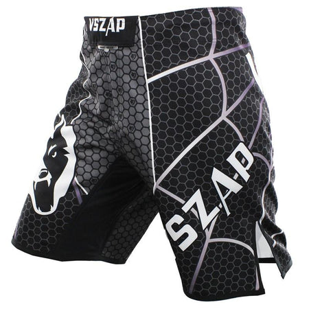 MMA/GRAPPLING FIGHT SHORTS - BLACK GREY SPIDER WEB - VSZAP