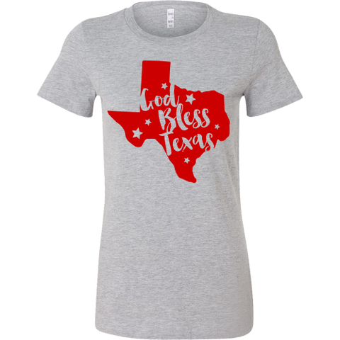 God Bless Texas Women's T-Shirt Slim Fit Texas in Red - 47stories - 1