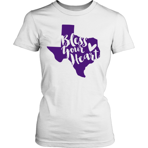Bless Your Heart State of Texas Purple T-Shirt Women's Classic Fit - 47stories - 1
