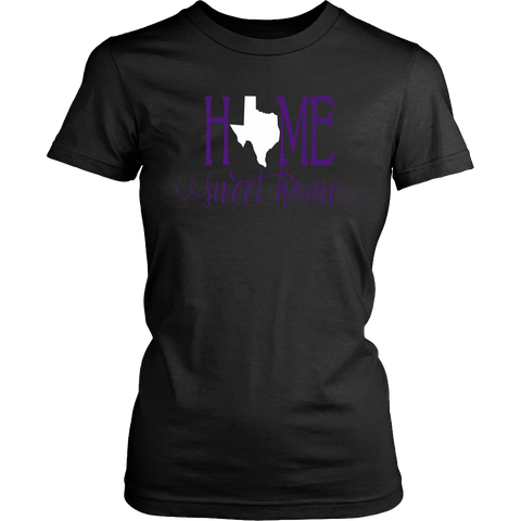 Home Sweet Home Texas Purple and White Women's T-Shirt Classic Fit