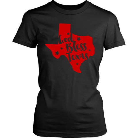 God Bless Texas Women's T-Shirt Classic Fit Texas in Red - 47stories - 1