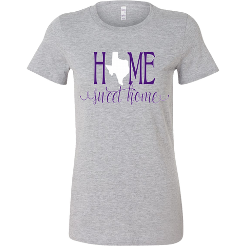 Home Sweet Home Texas Purple and White Women's T-Shirt Slim Fit - 47stories - 1