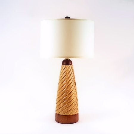 Twist Table Lamp 12 Spiral Handmade Butternut Mahogany