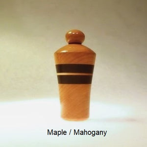 Lamp Finial Button Pattern 3 Maple and Mahogany Wood