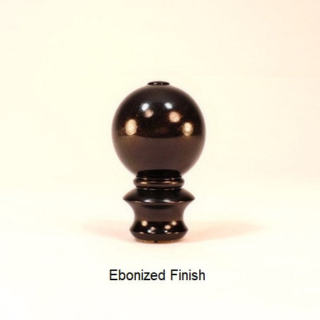 Wooden Table Lamp Finial Ball Pattern 6 Ebonized Finish