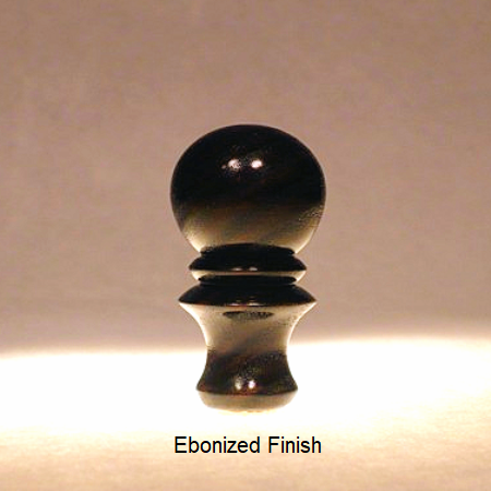 Wooden Lamp Shade Finial Ball Pattern 4 with Ebonized Finish