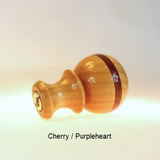 Lamp Finial Ball Pattern 5 handmade in cherry wood and purpleheart