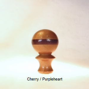 Wooden Table Lamp Finial Ball Pattern 5 in Cherry and Purpleheart