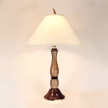 Wooden Table Lamp Ball Lamp 1 Black Walnut Curly Maple Handmade