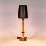 Handmade Wooden Candlestick Lamp Walnut Curly Maple Ebony