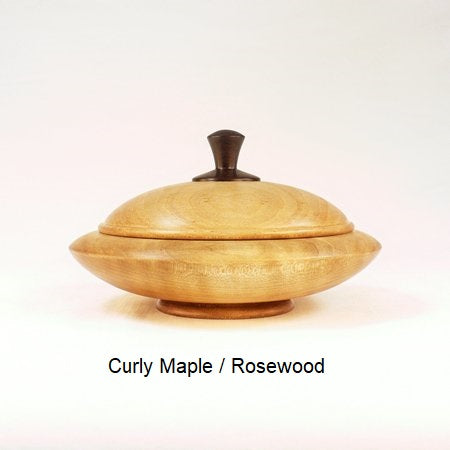 Wooden Sugar Bowl 3A in Curly Maple and Rosewood