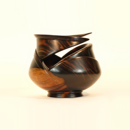 Specialty Wooden Bowl in Mun Ebony handmade by Picinae Studios
