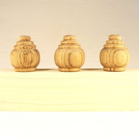 Custom Teak Bench Post Finials, Reproductions, Set Of 3