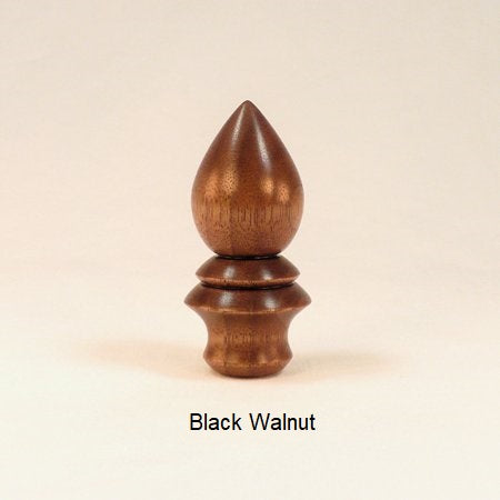 Wooden Lamp Finial Handmade in Black Walnut