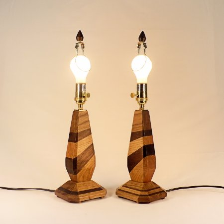 Custom Wooden Accent Lamps, Matching Pair