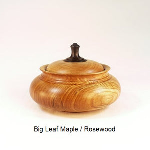 Wooden Sugar Bowl 4 in Big Leaf Maple and Rosewood
