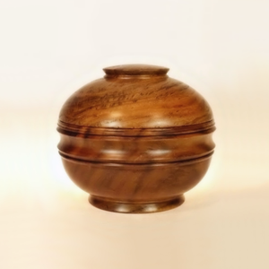 Wooden Bowl With Lid Orb Style 1 Teak