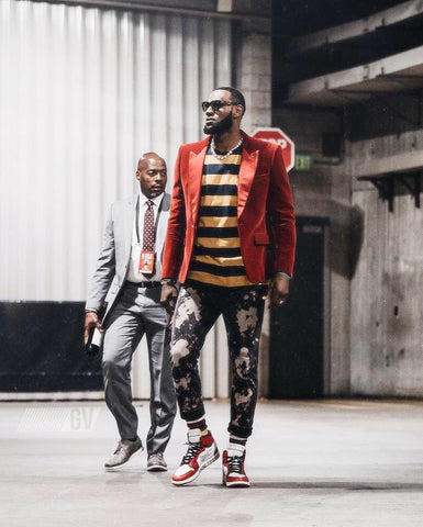 Lebron James in a red blazer