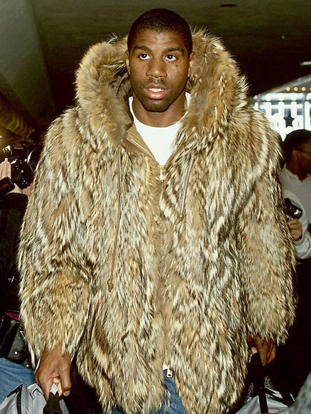 Magic Johnson in a fur coat