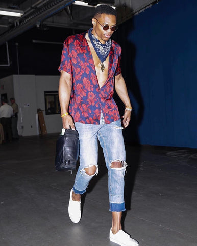 Russ Westbrook in a stylish outfit