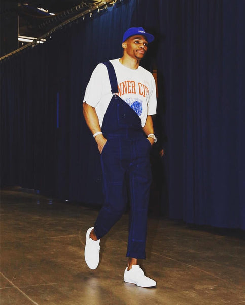 Russ Westbrook in overalls