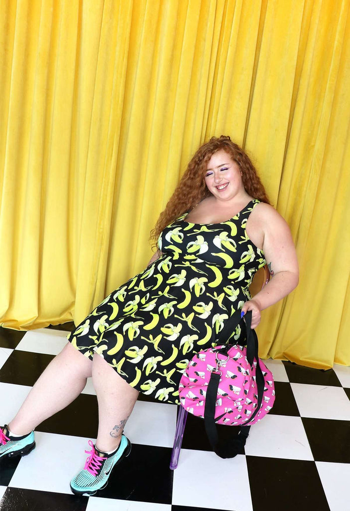 Banana Print Fit and Flare Dress - HAYLEY ELSAESSER