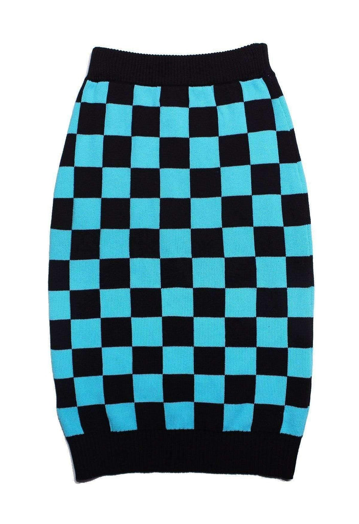 Black Checkered Knit Skirt