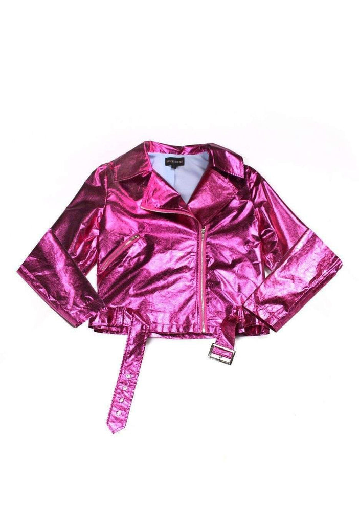 Gasoline Pink Metallic Moto Jacket