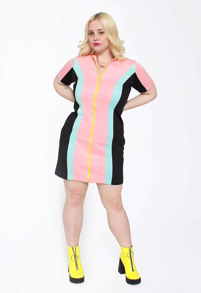 Pastel Picnic Colour Block Zip Dress