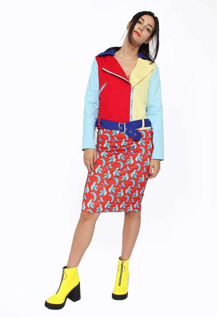 Primary Picnic Colour Block Moto Jacket