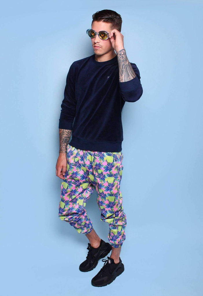 Tropical Fish Drawstring Cotton Joggers