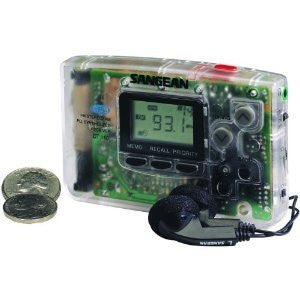 Sangean DT-110CL FM / AM LCD Stereo Pocket Radio with earphones and carrying pouch (Clear) - iPaces Consumer Electronics