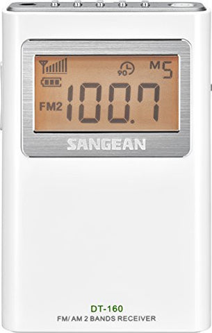 Sangean DT-160 FM/AM Stereo Pocket Radio (White) - iPaces Consumer Electronics