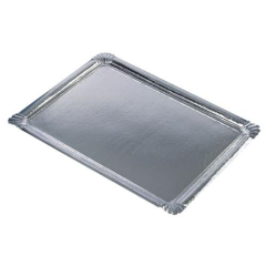 10 Serving Trays Silver PET coated
