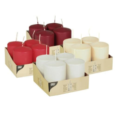 4 Pillar Candles Assorted Colours 60 x 80mm